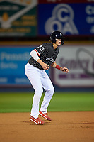 Reading Fightin Phils Alec Bohm (23) leads off second base during an Eastern League game against the Trenton Thunder on August 16, 2019 at FirstEnergy Stadium in Reading, Pennsylvania.  Trenton defeated Reading 7-5.  (Mike Janes/Four Seam Images)