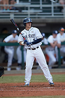 Joe Weisenseel (5) of the Penn State Nittany Lions at bat against the Xavier Musketeers at Coleman Field at the USA Baseball National Training Center on February 25, 2017 in Cary, North Carolina. The Musketeers defeated the Nittany Lions 10-4 in game one of a double header. (Brian Westerholt/Four Seam Images)