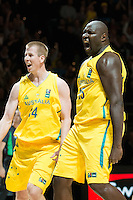 Melbourne, 15 August 2015 - Nate JAWAI of Australia reacts after dunking the ball in game one of the 2015 FIBA Oceania Championships in men's basketball between the Australian Boomers and the New Zealand Tall Blacks at Rod Laver Arena in Melbourne, Australia. Aus def NZ 71-59. (Photo Sydney Low / sydlow.com)