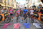The leaders jerseys lined up for the start of Stage 6 of the 103rd edition of the Giro d'Italia 2020 running 188km from Castrovillari to Matera, Sicily, Italy. 7th October 2020.  <br /> Picture: LaPresse/Massimo Paolone | Cyclefile<br /> <br /> All photos usage must carry mandatory copyright credit (© Cyclefile | LaPresse/Massimo Paolone)