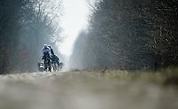 Paris-Roubaix 2013 RECON at Bois de Wallers-Arenberg..Ian Stannard (GBR) leading the SKY-train