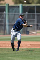 Seattle Mariners third baseman Nolan Perez (57) makes a throw to first base during an Extended Spring Training game against the San Francisco Giants Orange at the San Francisco Giants Training Complex on May 28, 2018 in Scottsdale, Arizona. (Zachary Lucy/Four Seam Images)