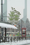 Rose Quarter with the Oregon Convention Center in a snow storm.