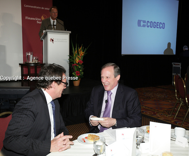 September 26 2012 - Montreal Quebec CANADA - Louis Audet, President & CEO of COGECO et Cogeco Cable,discuss with Pierre-Karl Peladeau, CEO QUEBECOR before speaking at the Canadian Club of Montreal's podium.<br /> <br /> PHOTO :  Agence quebec Presse -  Pierre Roussel