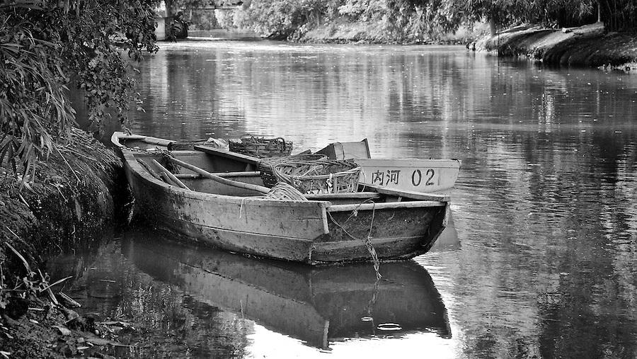 Boats On A Creek In Fuzhou, China.