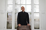 © Joel Goodman - 07973 332324 . 10/11/2017 . Burnley , UK . Vicar GRAHAM SAWYER in the St James' Parish vicarage . Sawyer was the victim of stalking by a parishioner . Photo credit : Joel Goodman