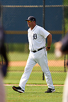FCL Tigers West manager Ryan Minor (12) walks to the mound to make a pitching change during a game against the FCL Yankees on July 31, 2021 at Tigertown in Lakeland, Florida.  (Mike Janes/Four Seam Images)