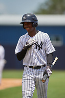 GCL Yankees West left fielder Terrance Robertson (11) during a game against the GCL Pirates on July 25, 2017 at Pirate City in Bradenton, Florida.  GCL Yankees West defeated the GCL Pirates 11-3.  (Mike Janes/Four Seam Images)