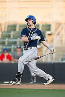 Brendan Rodgers (1) of the Asheville Tourists follows through on his swing against the Kannapolis Intimidators at Kannapolis Intimidators Stadium on May 26, 2016 in Kannapolis, North Carolina.  The Tourists defeated the Intimidators 9-6 in 11 innings.  (Brian Westerholt/Four Seam Images)