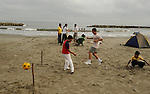 Sunday morning beach soccer in Cartagena, Colombia