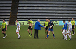 Greenock Morton 2 Stranraer 0, 21/02/2015. Cappielow Park, Greenock. Home manager Jim Duffy shaking hands with his goalkeeper Derek Gaston on the pitch at the end of the game between Greenock Morton (in hoops) and Stranraer in a Scottish League One match at Cappielow Park, Greenock. The match was between the top two teams in Scotland's third tier, with Morton winning by two goals to nil. The attendance was 1,921, above average for Morton's games during the 2014-15 season so far. Photo by Colin McPherson.