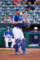 Oklahoma City Dodgers catcher Brian Ward (10) during a game against the Fresno Grizzles on June 1, 2015 at Chickasaw Bricktown Ballpark in Oklahoma City, Oklahoma.  Fresno defeated Oklahoma City 14-1.  (Mike Janes/Four Seam Images)