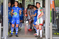 players  - captains Silke Vanwynsberghe (21) of AA Gent and Lenie Onzia (8) of OHL - waiting to go to the field pictured before a female soccer game between AA Gent Ladies and Oud Heverlee Leuven on the fourth matchday of play off 1 in the 2020 - 2021 season of Belgian Scooore Womens Super League , saturday 1 st of May 2021  in Oostakker , Belgium . PHOTO SPORTPIX.BE | SPP | STIJN AUDOOREN