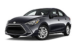 Stock pictures of low aggressive front three quarter view of 2018 Toyota Yaris-iA AT 4 Door Sedan Low Aggressive