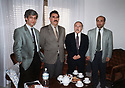 Italy 1999 In the suburbs of Roma, January 4, Abdullah Ocalan with a delegation send by the National Congress of Kurdistan. From left to right, Aziz Mameli, Abdullah Ocalan, Dr. Mahmoud Osman and an Assyrian of Turkey       Italie 1999 Dans la banlieue de Rome,le 4 janvier, Abdullah Ocalan avec une delegation du Congres National du Kurdistan. De gauche a droite, Aziz Mameli, Abdullah Ocalan, Dr. Mahmoud Osman et un assyrien de Turquie