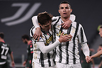 Cristiano Ronaldo celebrates with Federico Chiesa after scoring the goal of 1-0 during the Serie A football match between Juventus FC and FC Crotone at Allianz stadium in Torino (Italy), February 22th, 2021. Photo Federico Tardito / Insidefoto