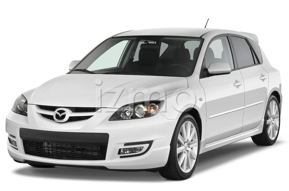 Front three quarter view of a 2008 Mazda Speed 3.