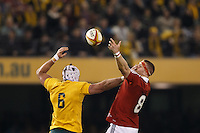 MELBOURNE, 29 JUNE 2013 - Ben MOWEN of the Wallabies puts a hand on the face of Jamie HEASLIP of the Lions during the Second Test match between the Australian Wallabies and the British & Irish Lions at Etihad Stadium on 29 June 2013 in Melbourne, Australia. (Photo Sydney Low / sydlow.com)