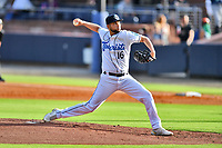 Asheville Tourists starting pitcher Jose Bravo (16) delivers a pitch during a game against the Greenville Drive on July 14, 2021 at McCormick Field in Asheville, NC. (Tony Farlow/Four Seam Images)