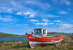 County Galway, Ireland:<br /> Retired fishing boat at Cleggan harbor in the Connemara region