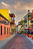 A cloudy afternoon on historic Aviles Street in downtown St. Augustine, Florida. Aviles Street is the oldest platted street in the United States.