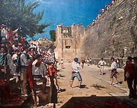 Europe/France/Aquitaine/64/Pyrénées-Atlantiques/Pays-Basque/Bayonne: Musée Basque - Partie de Pelote basque sous le sremparts de Fontarabie par Gustave Colin