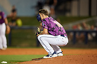 Charlotte Stone Crabs relief pitcher Spencer Jones (10) takes a moment before a mound visit during a game against the Palm Beach Cardinals on April 21, 2018 at Charlotte Sports Park in Port Charlotte, Florida.  Charlotte defeated Palm Beach 5-2.  (Mike Janes/Four Seam Images)