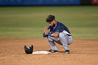 AZL Padres 2 left fielder Blinger Perez (14) on second base during an Arizona League game against the AZL Angels at Tempe Diablo Stadium on July 18, 2018 in Tempe, Arizona. The AZL Padres 2 defeated the AZL Angels 8-1. (Zachary Lucy/Four Seam Images)