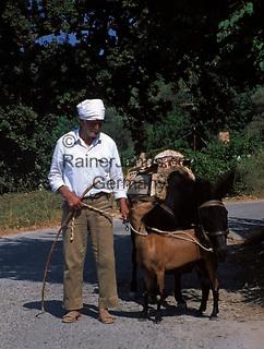 Griechenland, Kreta, Mann mit Ziege und Esel   Greece, Crete, man with goat and donkey
