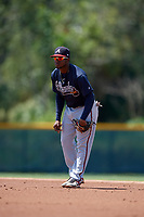 GCL Braves second baseman Eliezel Stevens (8) during a Gulf Coast League game against the GCL Pirates on July 30, 2019 at Pirate City in Bradenton, Florida.  GCL Braves defeated the GCL Pirates 10-4.  (Mike Janes/Four Seam Images)