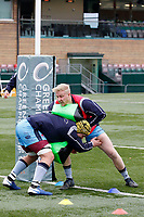 London Scottish attack pads in the warm up during the Greene King IPA Championship match between Ealing Trailfinders and London Scottish Football Club at Castle Bar , West Ealing , England  on 19 January 2019. Photo by Carlton Myrie/PRiME Media Images