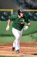 Clinton LumberKings third baseman Joseph DeCarlo (5) runs to first during a game against the Beloit Snappers on August 17, 2014 at Ashford University Field in Clinton, Iowa.  Clinton defeated Beloit 4-3.  (Mike Janes/Four Seam Images)