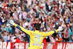 Atletico de Madrid's Thibaut Courtois celebrates goal during La Liga match.March 11,2012. (ALTERPHOTOS/Acero)