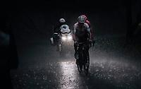 Alexey Lutsenko (KAZ/Astana) & Michael Woods (CAN/EF Education First) forcing their way through the torrential rain<br /> <br /> Stage 7: Saint-Genix-les-Villages to Pipay  (133km)<br /> 71st Critérium du Dauphiné 2019 (2.UWT)<br /> <br /> ©kramon
