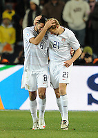 Clint Dempsey of USA celebrates scoring the opening goal with team-mate Jonathan Spector . USA leads Brazil 2-0 after the first half during the FIFA Confederations Cup Final at Ellis Park Stadium in Johannesburg, South Africa on June 28, 2009..
