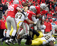 November 22, 2008. Ohio State quarterback Terrelle Pryor (2) fights for extra yards.  The Ohio State Buckeyes defeated the Michigan Wolverines 42-7 on November 22, 2008 at Ohio Stadium, Columbus, Ohio.