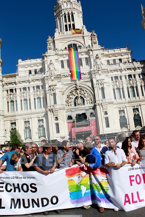 Political and social leaders netx to the Town Hall of Madrid during the demonstration of World Pride Madrid 2017. July 1, 2017. (ALTERPHOTOS/Acero)
