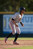 San Jose Giants shortstop Brandon Van Horn (9) takes a lead off second base during a California League game against the Modesto Nuts at John Thurman Field on May 9, 2018 in Modesto, California. San Jose defeated Modesto 9-5. (Zachary Lucy/Four Seam Images)