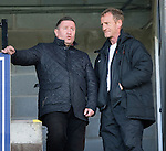 St Johnstone v Dundee United...19.04.14    SPFL<br /> John Robertson (left) talks with Dave Bowman<br /> Picture by Graeme Hart.<br /> Copyright Perthshire Picture Agency<br /> Tel: 01738 623350  Mobile: 07990 594431