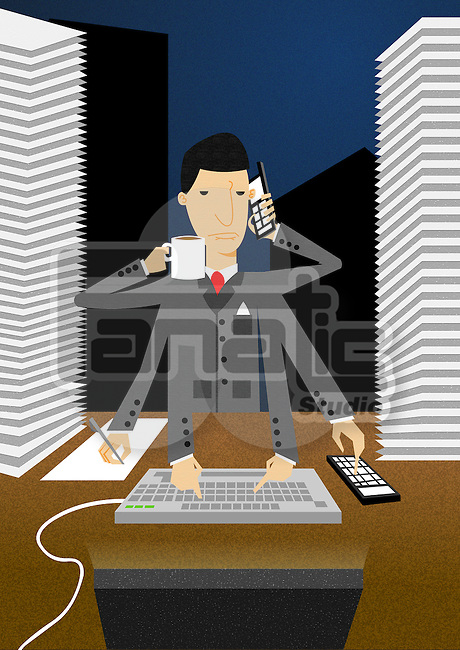 Multi-tasking business person working in office