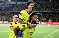 BARRANQUILLA – COLOMBIA, 09-09-2021: Miguel Angel Borja de Colombia (COL) celebra su segundo gol anotado a Chile (CHI), durante partido entre los seleccionados de Colombia (COL) y Chile (CHI), de la fecha 9 por la clasificatoria a la Copa Mundo FIFA Catar 2022, jugado en el estadio Metropolitano Roberto Melendez en Barranquilla. / Miguel Angel Borja of Colombia (COL) celebrates his second scored goal to Chile (CHI), during match between the teams of Colombia (COL) and Chile (CHI), of the 9th date for the FIFA World Cup Qatar 2022 Qualifier, played at Metropolitan stadium Roberto Melendez in Barranquilla. / Photo: VizzorImage / Jairo Cassiani / Cont.