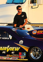 Jul, 9, 2011; Joliet, IL, USA: NHRA pro stock driver Vincent Nobile during qualifying for the Route 66 Nationals at Route 66 Raceway. Mandatory Credit: Mark J. Rebilas-