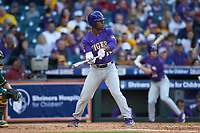 Maurice Hampton Jr. (14) of the LSU Tigers shows bunt during the game against the Baylor Bears in game five of the 2020 Shriners Hospitals for Children College Classic at Minute Maid Park on February 28, 2020 in Houston, Texas. The Bears defeated the Tigers 6-4. (Brian Westerholt/Four Seam Images)