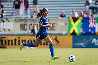 CARY, NC - SEPTEMBER 12: Abby Erceg #6 of the NC Courage chases the ball during a game between Portland Thorns FC and North Carolina Courage at Sahlen's Stadium at WakeMed Soccer Park on September 12, 2021 in Cary, North Carolina.