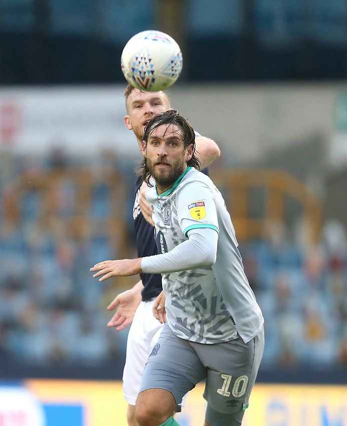Blackburn Rovers' Danny Graham and Millwall's Alex Pearce<br /> <br /> Photographer Rob Newell/CameraSport<br /> <br /> The EFL Sky Bet Championship - Millwall v Blackburn Rovers - Tuesday July 14th 2020 - The Den - London<br /> <br /> World Copyright © 2020 CameraSport. All rights reserved. 43 Linden Ave. Countesthorpe. Leicester. England. LE8 5PG - Tel: +44 (0) 116 277 4147 - admin@camerasport.com - www.camerasport.com