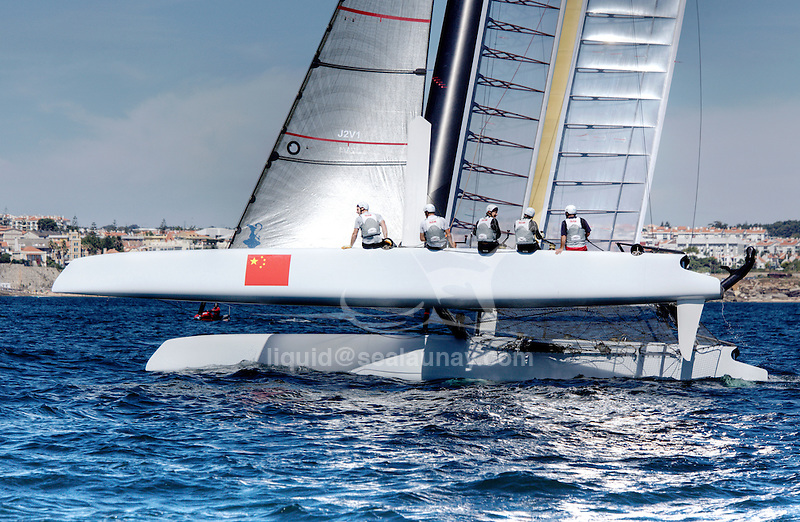 America's Cup World Series, fleet race practice in Cascais Portugal.