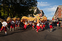 Orange Dragon Dance, Chinatown Seafair Parade 2015, Seattle, Washington State, WA, America, USA.