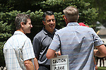 From left, Epic Rides founder Todd Sadow, Gov. Brian Sandoval and local race director Kurt Meyer talk before the kick off of the Epic Rides Carson City Off-Road at the Governor's Mansion in Carson City, Nev., on Friday, June 17, 2016.<br /> Photo by Cathleen AllisonPhoto by Cathleen Allison