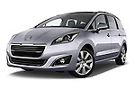 Low aggressive front three quarter view of a 2014 Peugeot 5008 Allure 5 Door Mini Mpv 2WD