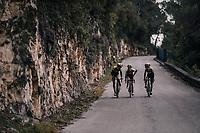 Roman Kreuziger (CZE/ORICA-Scott), Simon Yates (GBR/Michelton-Scott) & Esteban Chavez (COL/Michelton-Scott) returning to the (distant) team bus after the stage<br /> <br /> 76th Paris-Nice 2018<br /> stage 6: Sisteron > Vence (198km)
